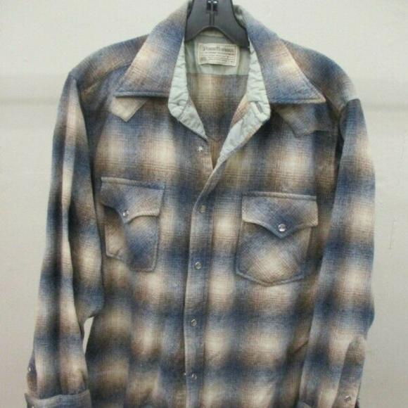 aef64347 Pendleton Shirts | High Grade Western Wear Wool Pearl Snap Plaid ...